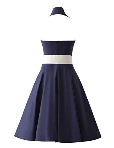 VKStar®Retro Chic ärmellos 1950er Audrey Hepburn Kleid / Cocktailkleid Rockabilly Swing Kleid Marineblau - 2