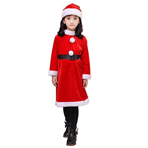 NJFJ Weihnachtsmann-Kostüm Velvet Set Weihnachten Kleid, 10-13 Jahre -