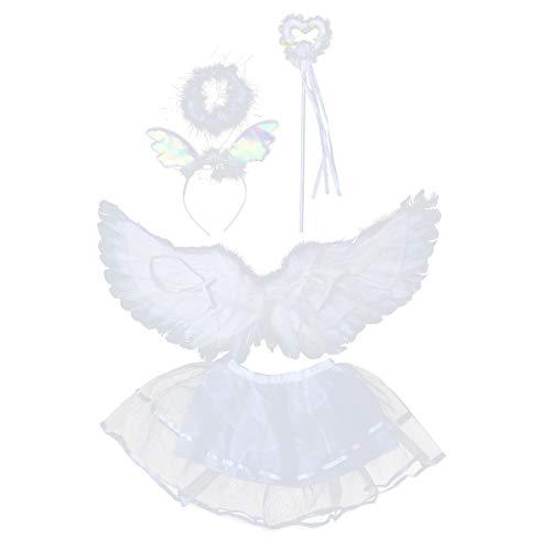 Amosfun 4 Stück Weiße Feder Engel Flügel Kostüm Engelsflügel mit Halo Ohren Stirnband Tüll Tutu Rock und Zauberstab Set Halloween Fotografie Requisiten für Kinder Mädchen - Flügel Und Halo Kostüm