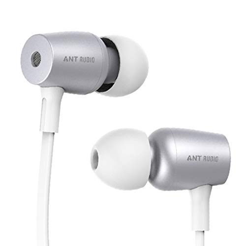 Ant Audio Thump 504 Wired Portable Hi-Fi Earphone with Mic (White and Silver) Mobile Phone Wired Headsets at amazon