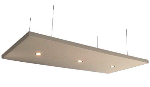 Horch Akustik Deckensegel mit 3 LED-Downlights, 240cm x 120cm x 5cm, 4000g/m², creme, Akustikvlies alternative zu Schaumstoff -