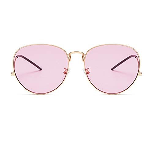 YHgiway Sonnenbrille für Männer Frauen Aviator Large Metal Frame-Colorful Gradient Linsen, UV400 Schutz YH6875,Gold/Pink
