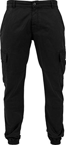 Urban Classics Herren und Jungen Cargohose Washed Cargo Twill Jogging Pants, Rangerhose mit aufgesetzten Seitentaschen Schwarz (Black 7)