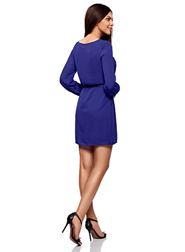 oodji Ultra Damen Chiffon-Kleid mit Gürtel Blau (7500N)