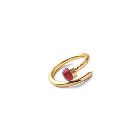 LARESDOMI Vintage Gold-tone Simulated Ruby Stone Nail Shape Art Deco Ring