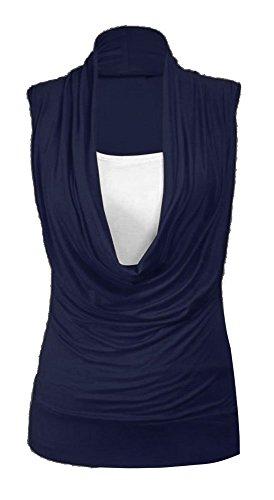 Fast Fashion Damen Oben Klar Plus Size Rollkragen Innen Weste 2 In 1 Tunika-Stil Sleevless