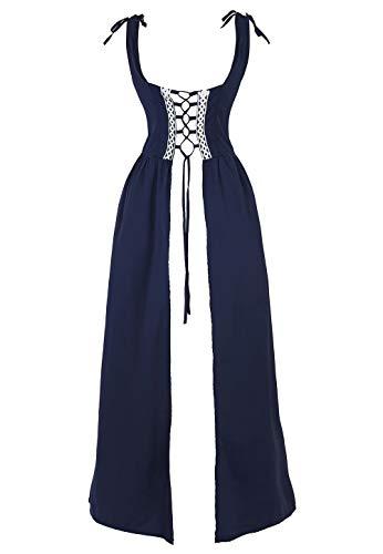 aizen Mittelalter Kleid Renaissance Damen mit Trompetenärmel Party Kostüm bodenlang Vintage Retro Costume Cosplay Rot Blau - Irland Kostüm Mädchen