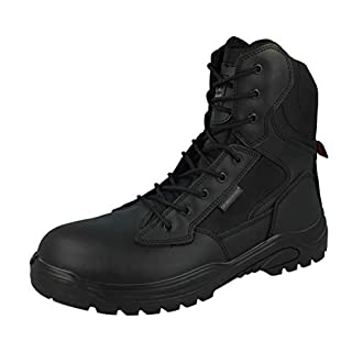 Steel Toe Cap Combat Tactical Safety Ankle Boot Security Military Police Boot, 9 UK, Black