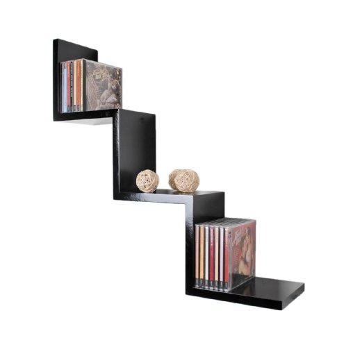 ts-ideen Lounge Regal ZickZack Design Retro CD DVD Wandregal Hängeregal Schwarz