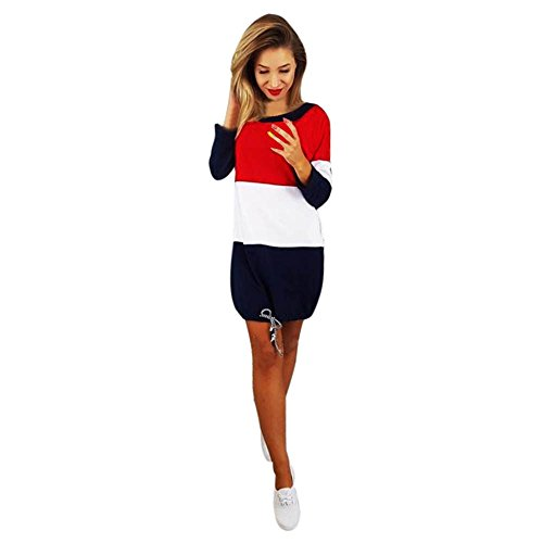 Damen Kleider, GJKK Damen Casual Feiertags O-Ausschnitt Partykleider Patchwork Rückenfrei Minikleid...