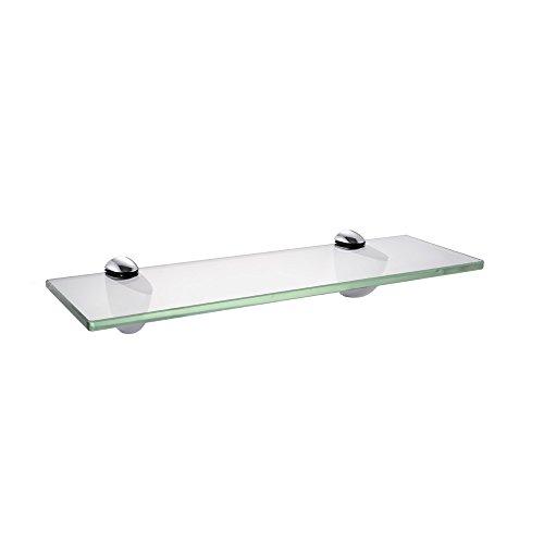 KES Badablage Glasregal Eckablage Glasbodenträger aus Edelstahl und Glas, Klar und Silber, BGS3202S35 (Chrom-bad-halterung)