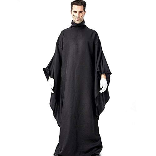 Schwarz Kostüm Einfache - QWE Halloween Kostüm schwarz einfache Robe Dämon Anhänger Kostüm Bühnenkostüm Erwachsenen Leistung Kostüm