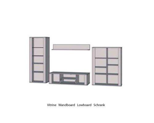Wohnzimmerschrank, Wohnwand, Schrankwand, Anbauwand, Fernsehwand, Wohnzimmerschrankwand, Wohnschrank, Sonoma Eiche-Nb., Vitrine, Lowboard, Wandboard - 2