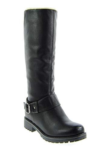 King Of Shoes Klassische Kniehohe Damen Biker Stiefel Leder Optik Boots Nieten Langschaft 536 (40, Schwarz)