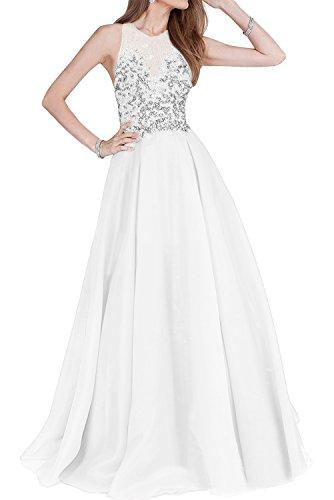 TOSKANA BRAUT Royalblau Neu Damen Stein Organze Zwei-Traeger Promkleider Ballkleider Abendkleid Bodenlang Weiß