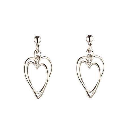 Silverly Women's .925 Sterling Silver Double Heart Dangle Stud Earrings