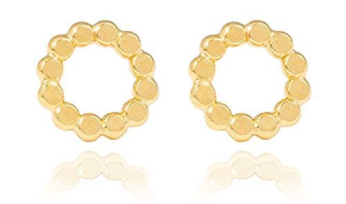 Charlotte Wooning Damen Ohrstecker Flat Pearl Small Gold runde Plättchen Gehämmert Offener Kreis Silber Vergoldet EFPSg