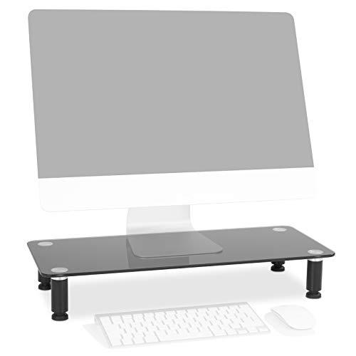 Duronic DM052-2 Bildschirmständer/Monitorständer/Notebookständer/TV Ständer/Bildschirmerhöhung/Laptop | Glas | schwarz |56cm x 24cm | 20kg Kapazität -