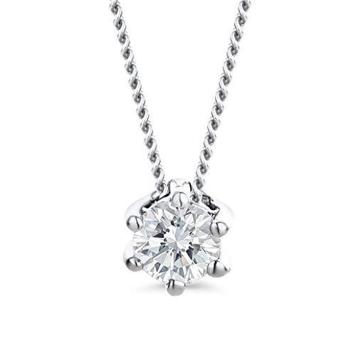 Orovi Gioielli collana da donna in oro bianco con diamante solitario da 14 carati