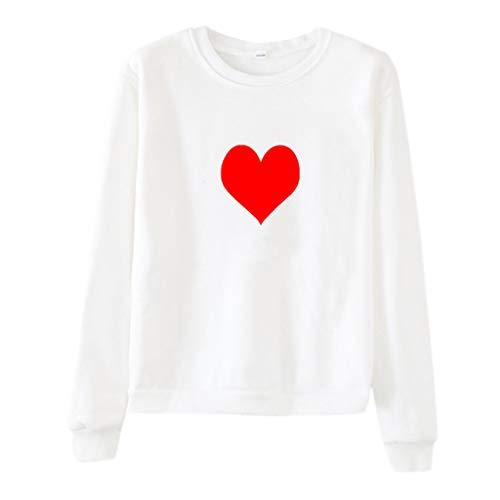 TAMALLU Damen T-Shirts Mode Lässig Bedruckt Rundhals Lose Lange Ärmel Tunika(Weiß,2XL) (T-shirt Brautjungfer Fitted)