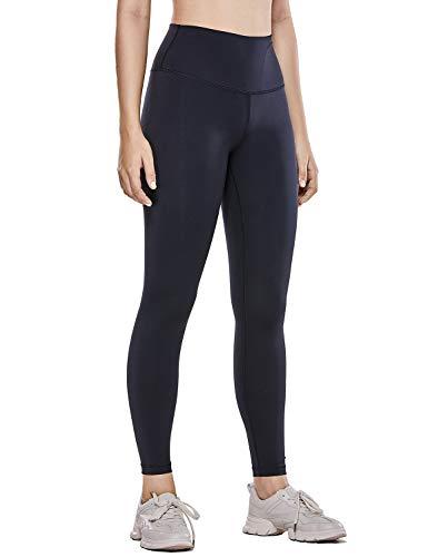 CRZ YOGA Damen Hohe Taille Joggen Yoga Leggings mit Verdeckte Seitentaschen-63cm Schwarz XXS(34)