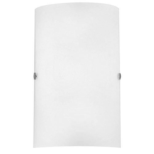 Eglo 85979 Applique murale Troy en acier et verre pour 1 ampoule E14 max. 60W non incluse Nickel mat/blanc satiné 18 x 25 x 7,5cm