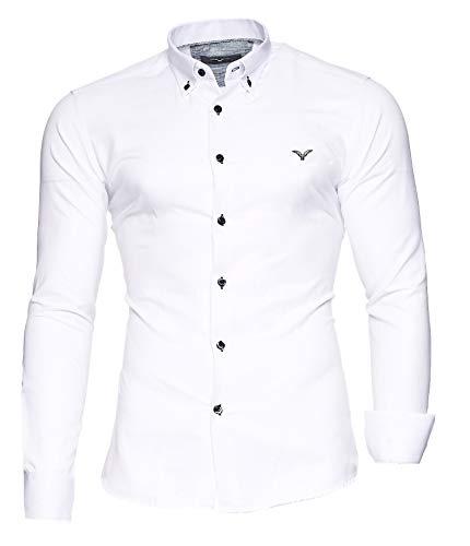 Kayhan Herren Hemd Oxford Weiß L - Oxford-schuhe Weiß