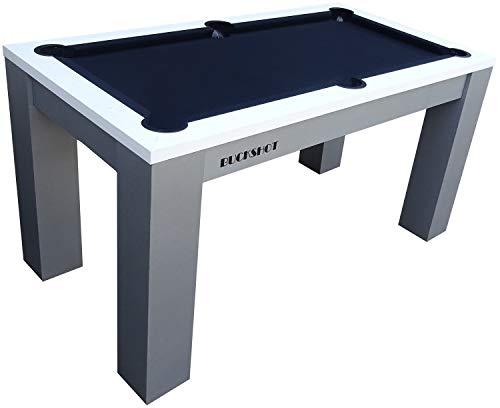 BuckShot Billardtisch 5ft - 152x81x79cm Oxford - Tischbillard mit Zubehör - 5 Fuß Pool Billard - 60KG - Weiß/Anthrazit