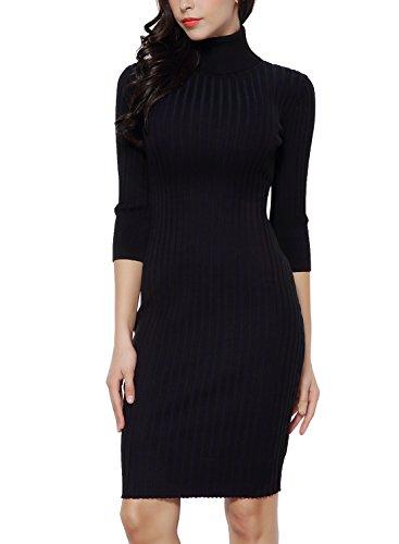 Miusol Wollkleid Strickkleid hoher Kragen figurbetontes Kleid - 2
