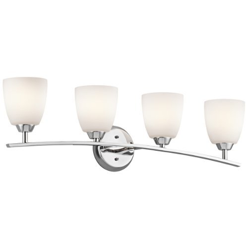Cased Opal Shade (Kichler Lighting 45361CH Granby 4-Light Vanity Fixture, Chrome Finish and Satin Etched Cased Opal Glass Shades by Kichler)