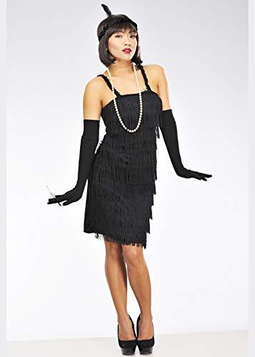 8in1 Ladies Brüllen 20s Black Fransen Flapper Kostüm Medium (UK 10-12)