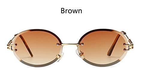 LAMAMAG Sonnenbrille Randlose Ovale Sonnenbrille Kleine Runde Frauen Männer Brille Damen Vintage Yellow Eyewear 90Er Jahre Rote Brille, 2