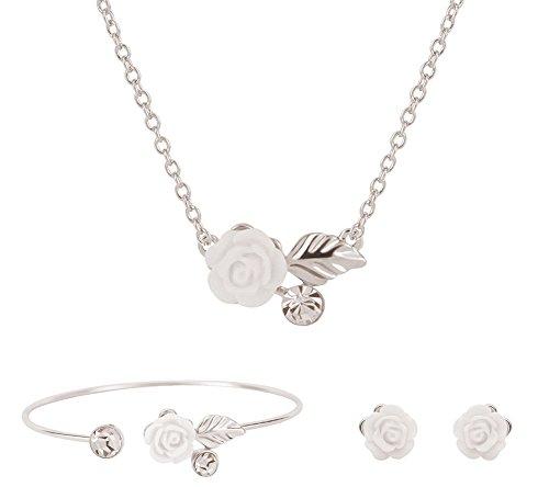 Scrox Pendientes de collar de mujer Pulsera colgante de flor Collar de cadena de niña Fiesta Conjunto de joyas de boda Regalo de amor (Plata#1)