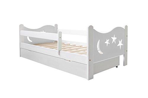 Preisvergleich Produktbild KATIDO Kinderbett Massivholz Mond und Sterne Weiß 140x70 oder 160x80 Matratze Schublade Lattenrost (160x80)