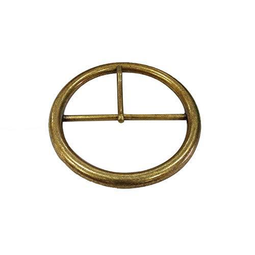 Weddecor 82 mm große, rechteckige Messing-Schnalle für Gürtel, modisches Accessoire, Jacken, Rucksack, Lederarbeiten, langlebig, leicht, Verstellbarer Gurtbandschieber Brass (Round) -