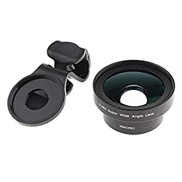 perfk 4K HD 16mm No Distortion 2 in 1 Super Wide Angle Lens,15X Macro Lens, Clip on Lenses Kit Compatible for iPhone, Samsung,Most Smartphones