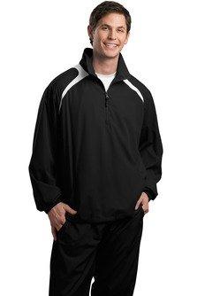 HIPI GOX Sport-Tek 1/2-Zip Wind Shirt> Black/White JST75