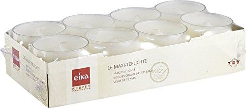 Eika 76362400 Maxi-Teelichte 16-er-Packung / PC-Cup / 2.7 x 5.7 cm / weiß