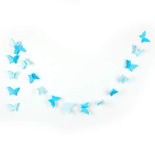 PERIWIN Guirlande en Papier 3D Papillon Guirlande de Mariage Anniversaire Fête Bannière Décoration Chambre Enfant Blanc Blanc