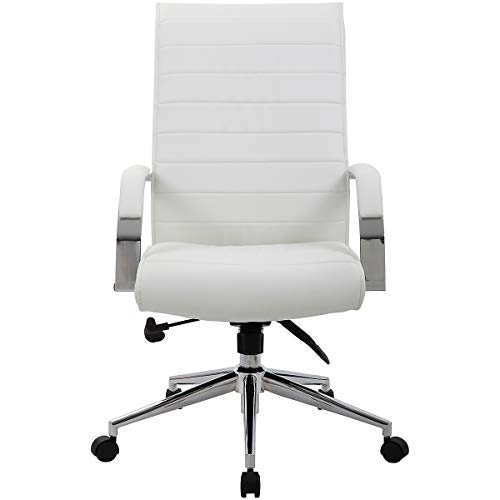 Certeo Chefsessel Identity mit Lederbezug und hoher Rückenlehne, weiss - Bürostuhl mit Soft Touch Leder - Schreibtischstuhl mit italienischem Design