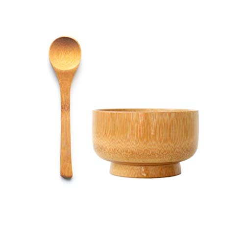 1 Set Gesichtshautpflege Bambus-Maske Schüssel mit Löffel DIY hausgemachte Gesichtsmasken Mischbehälter Werkzeug Kosmetik Make-up Zubehör Baby Reisschüssel für Frauen Mädchen Kinder