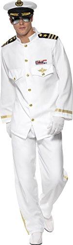 Smiffys, Herren Kapitän Deluxe Kostüm, Jackett, Hose, Mütze und Handschuhe, Größe: M, (Matrosen Kostüm Marine)