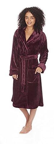 Ladies Women's Soft Flannel Fleece Hooded Dressing Gown Robe Nightwear Plus Size