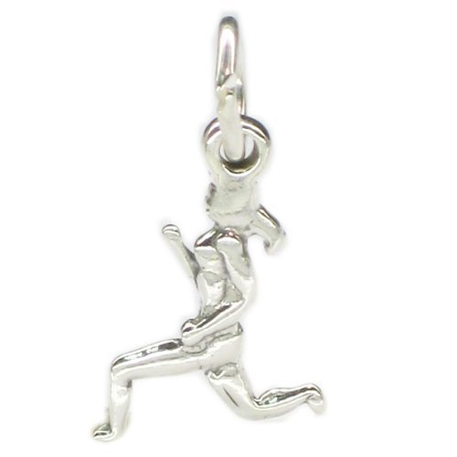 Female runner sterling silver charm SMALL .925 x 1 Lady Woman Running CF4695