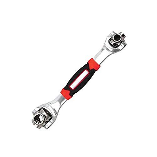Clé universelle rotative à levier rotatif multifonction 48 en 1 de 48 degrés avec clé à écrou en acier inoxydable, fonctionne avec des boulons à cannelure, noir et rouge