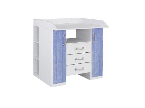 Rauch Wickelkommode mit Schubladen Weiß 2-türig, Absetzungen Printdekor Blau, BxHxT 92x94x84 cm