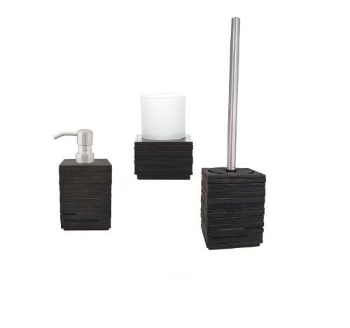 Ridder 229909100-350 Bad-Accessoire-Set 3-teilig, Brick schwarz