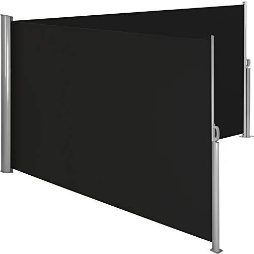 TecTake Doppel- Seitenmarkise Sonnenschutz Sichtschutz Gehäuse und Standpfosten komplett aus Aluminium - Diverse Farben und Größen - (Schwarz | 180x600cm | Nr. 402335)