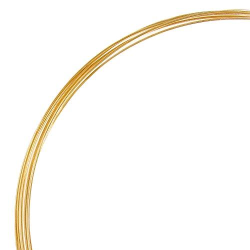 TCC Sourcing Feiner Faden, 14 Karat Gold, gefüllt, rund, 28 Gauge, 0,3 mm, halb hart, Gelbgold, 1,5 m
