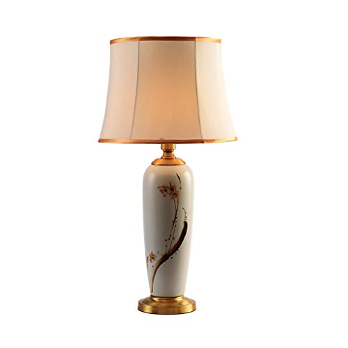 JXLBB Kupfer Mit Keramik Handgemalte Tinte Malerei Pflaume Blume Wohnzimmer Schlafzimmer Nachttischlampen Neue Chinesische Dekorative Tischlampe